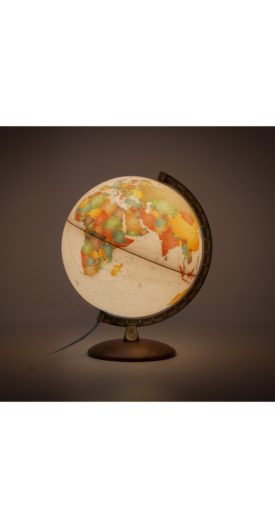 Antiquus 30 cm globe wooden base