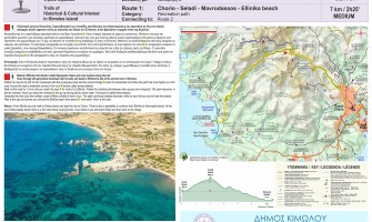 Signposting in Kimolos:  signs for the footpaths of Kimolos