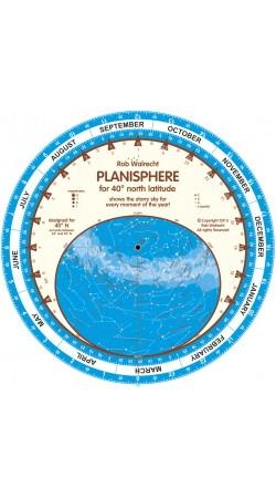 Planisphere for 40° North latitude