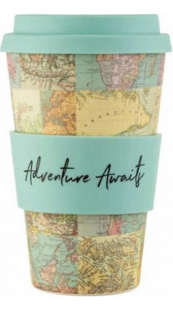 Vintage map Bamboo coffee cup