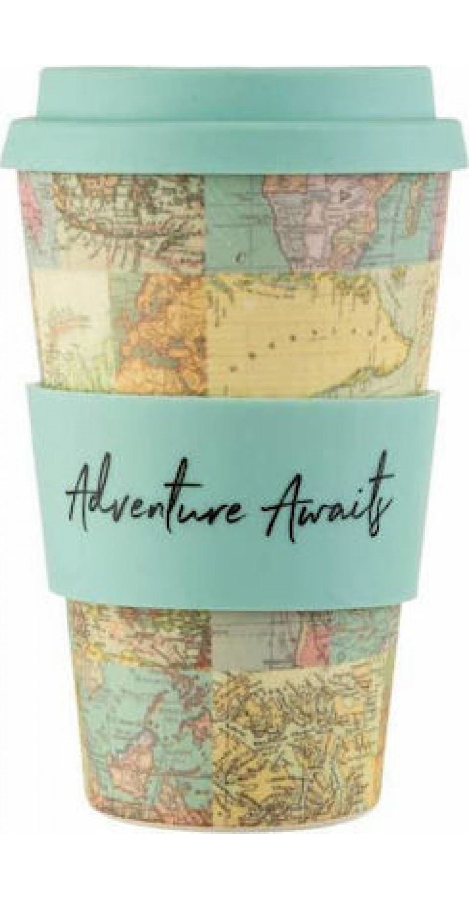 VINTAGE MAP COLLAGE BAMBOO COFFEE CUP