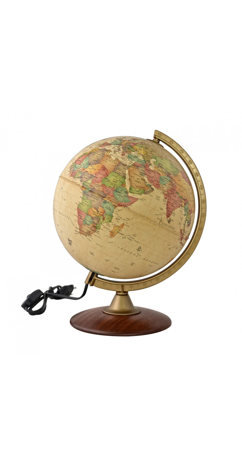 Globe Antique 30 cm in Greek with wooden base