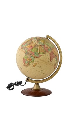 Globe Antique 25 cm wooden base in Greek