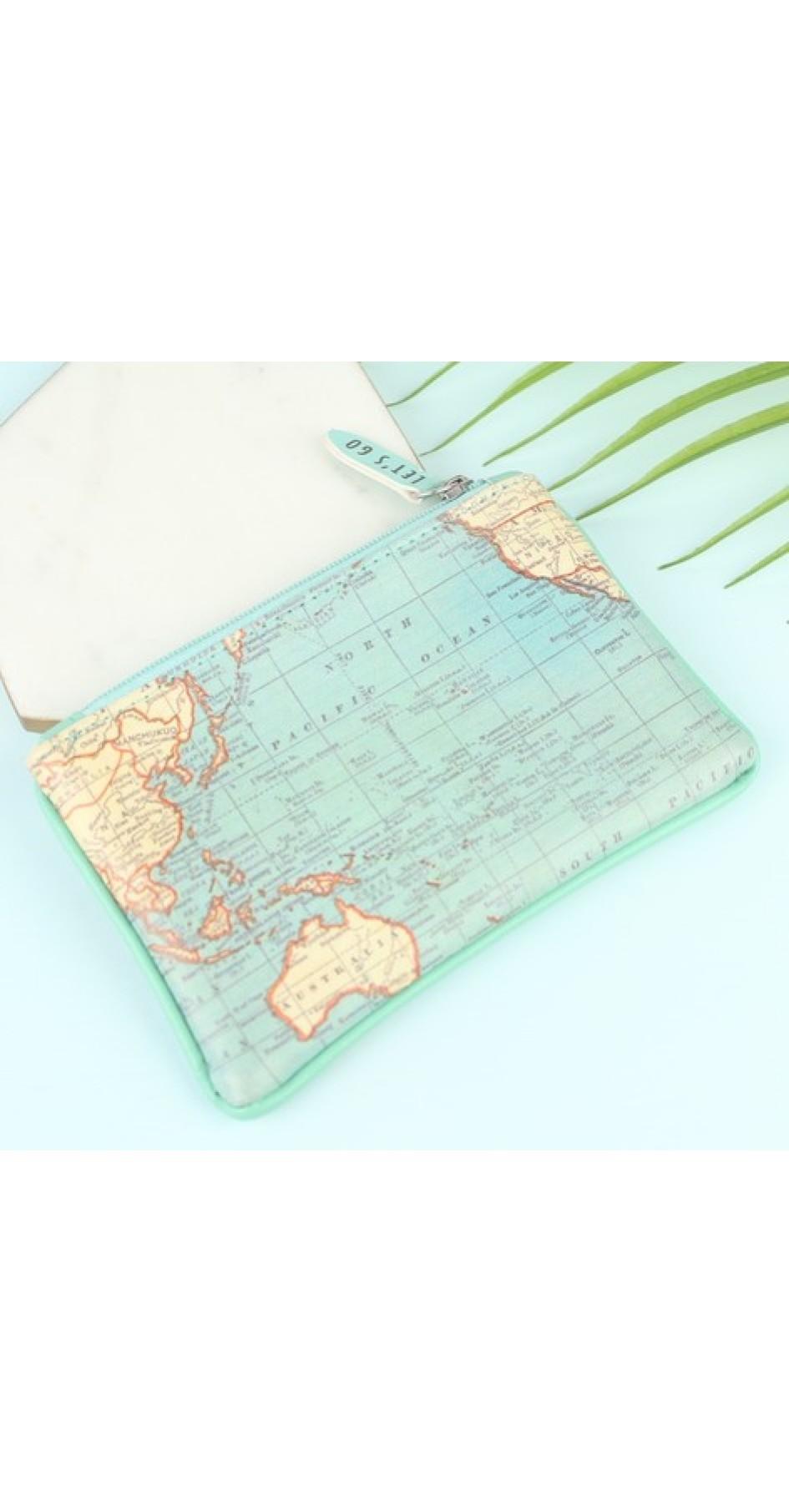 """Vintage map purse """"A little purse for big adventures"""" (13x8,5cm)"""