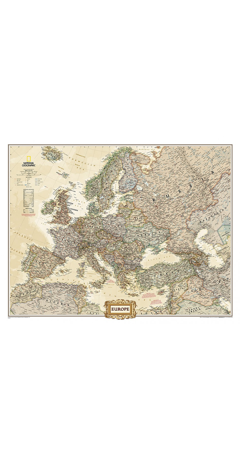 NG Europe Executive Map 76cm x 61cm