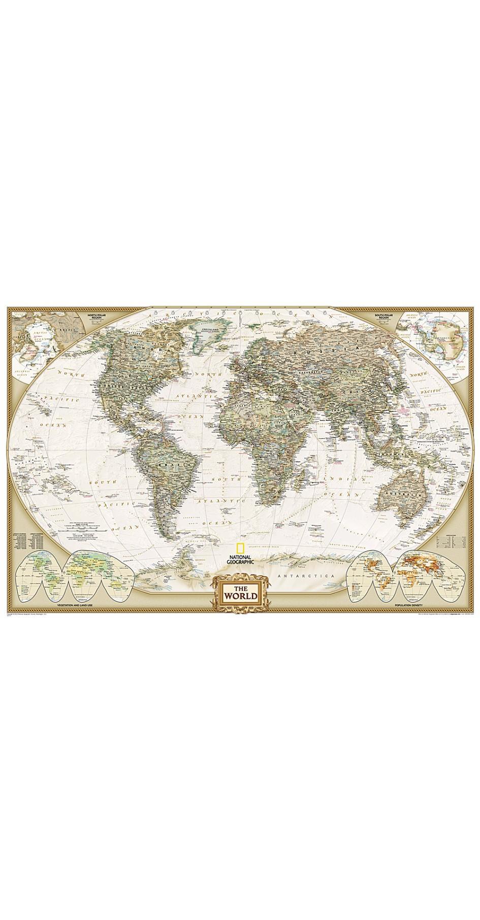 NG World Executive Political Map 117cm x 77cm