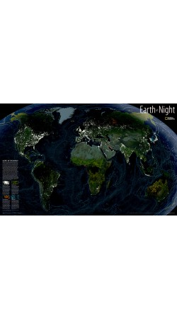NG Earth at Night Map 89cm x 57cm