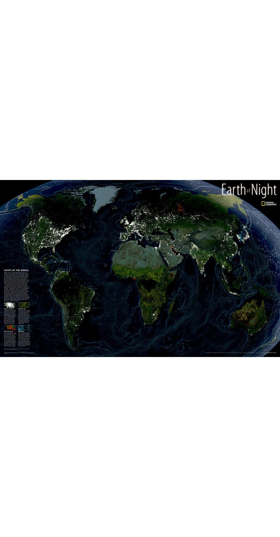 NG Earth at Night Map 89cm x 57cm