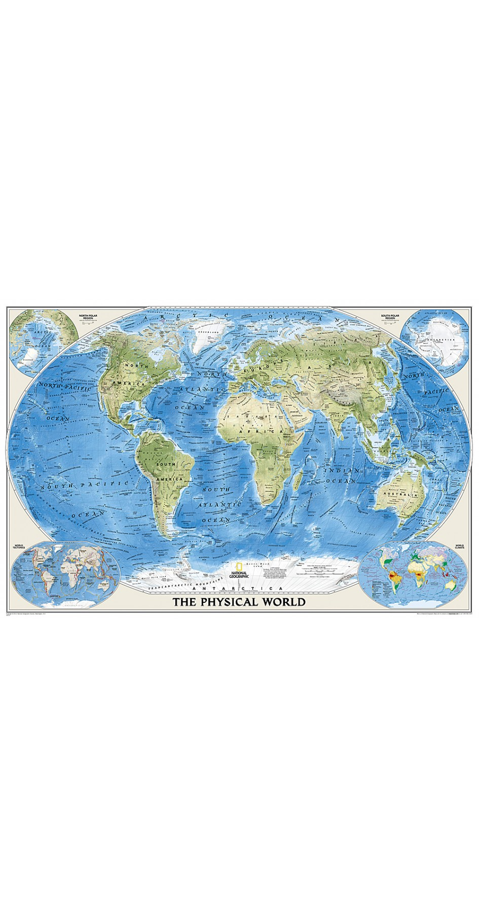 NG World Physical Map Enlarged 176cm x 122cm