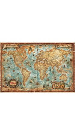 RayWorld Modern World Antique map 136cm x 92cm