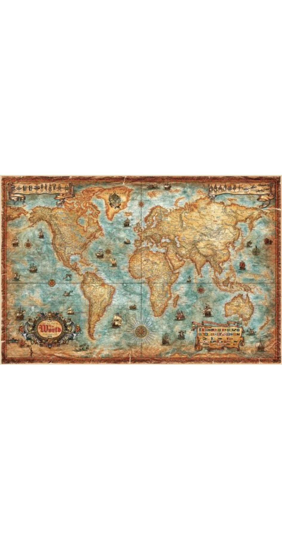 RayWorld Modern World Antique map 136cm x 92cm