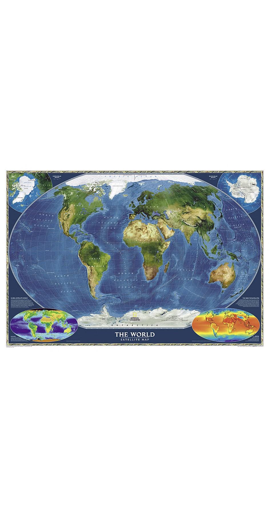 NG World Satellite Map 82cm x 51cm