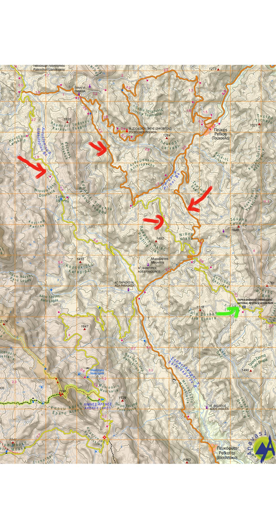 Gramos, Smolikas, Voio, Vasilitsa • Hiking map 1:40000