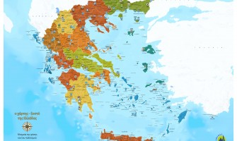 Scratch map of Greece for the monuments of culture and nature