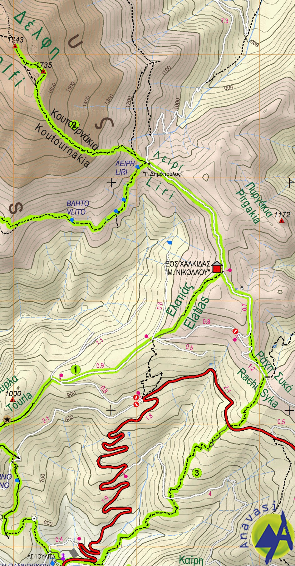 Dirfis - Xerovouni • Hiking map 1:25 000