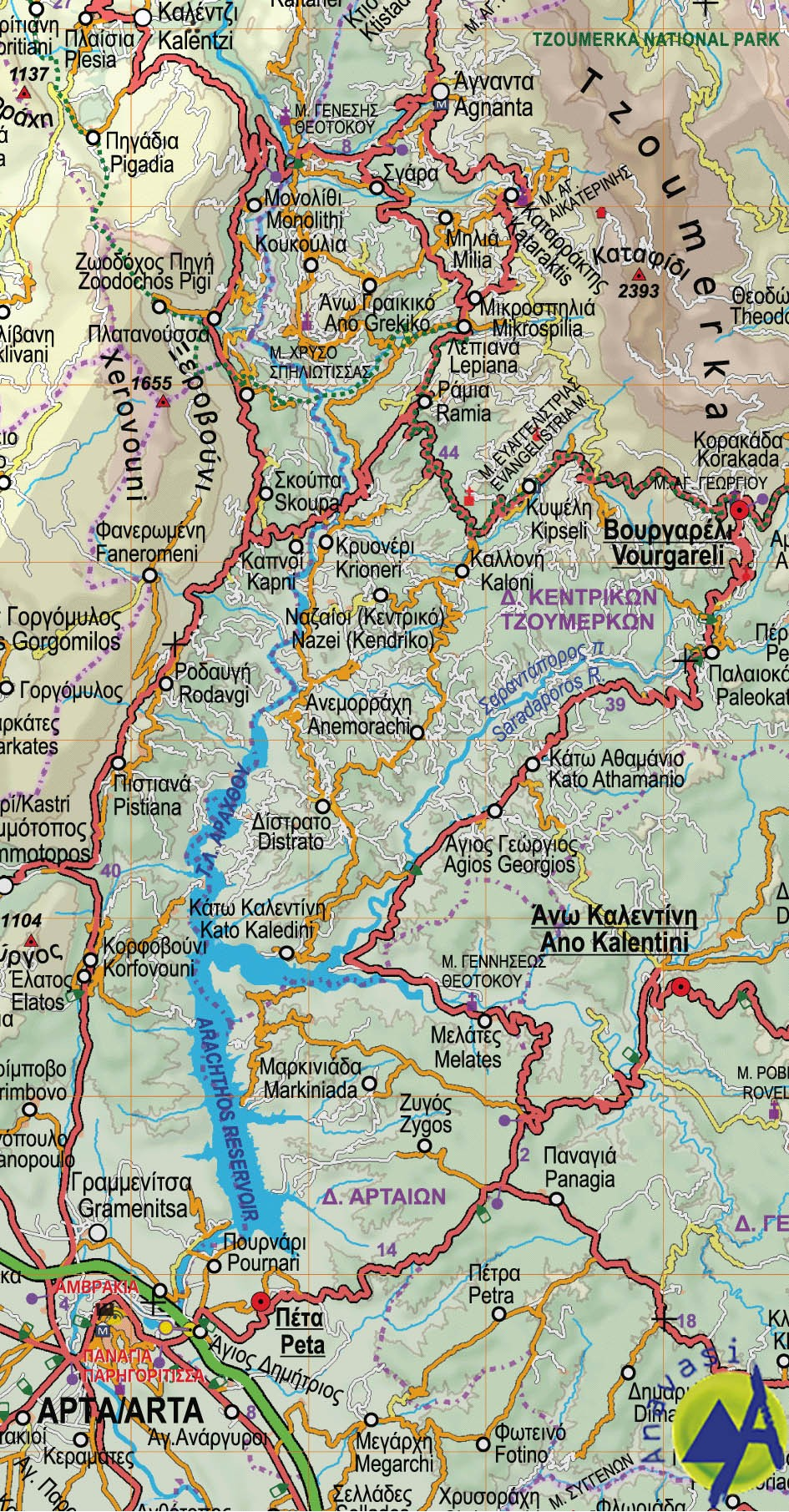 Central Greece, Epirus, Thessaly • Road map 1:230000