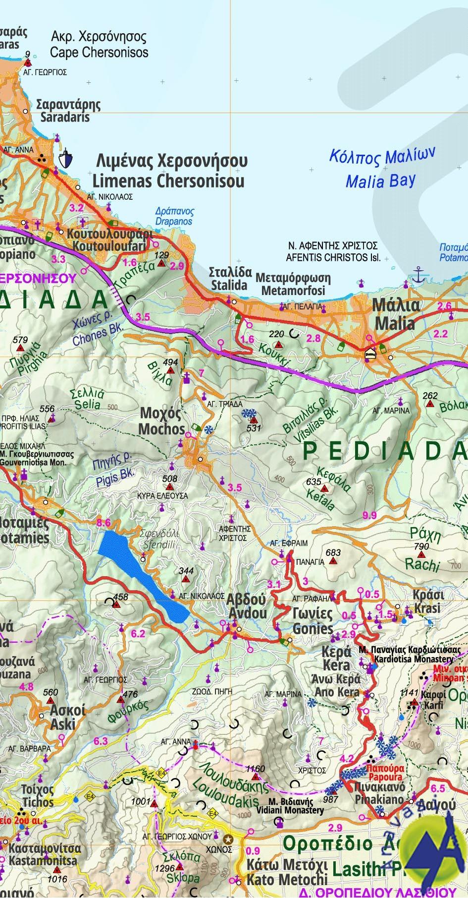 Lasithi , Lefki & Chrysi • Road map 1:100.000