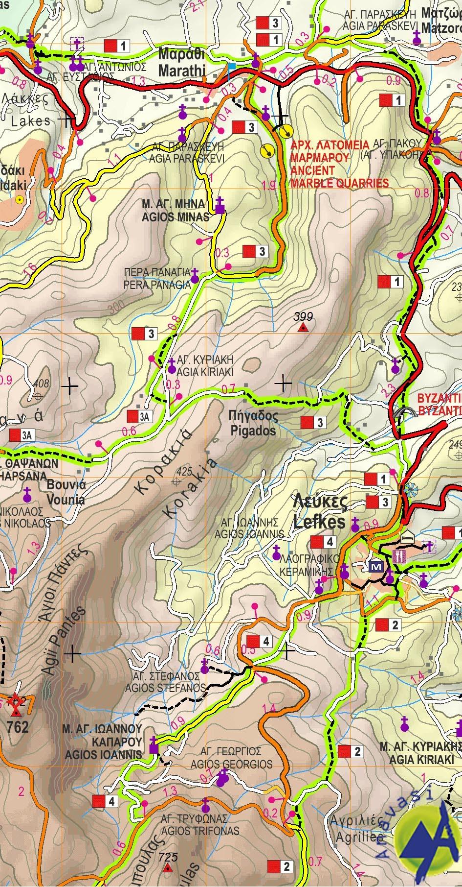 Paros • Antiparos  • Hiking map 1:40.000