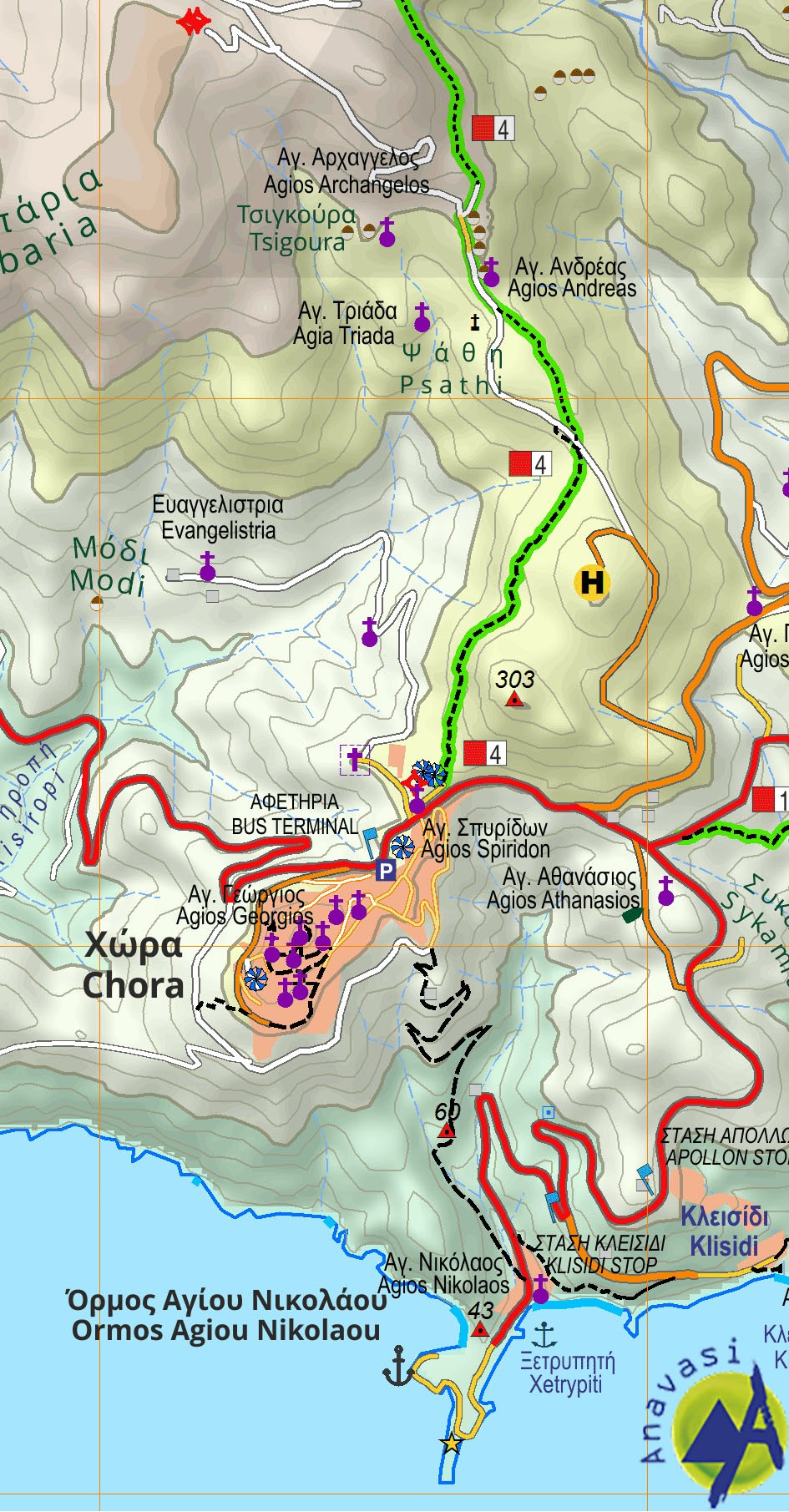 Anafi • Hiking map 1:25 000