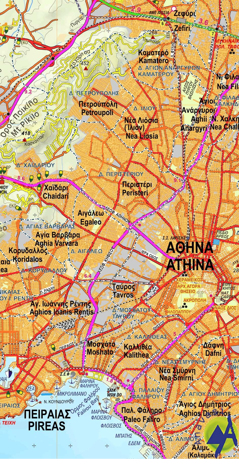 Attiki - Viotia  • Road and touring map 1:100 000