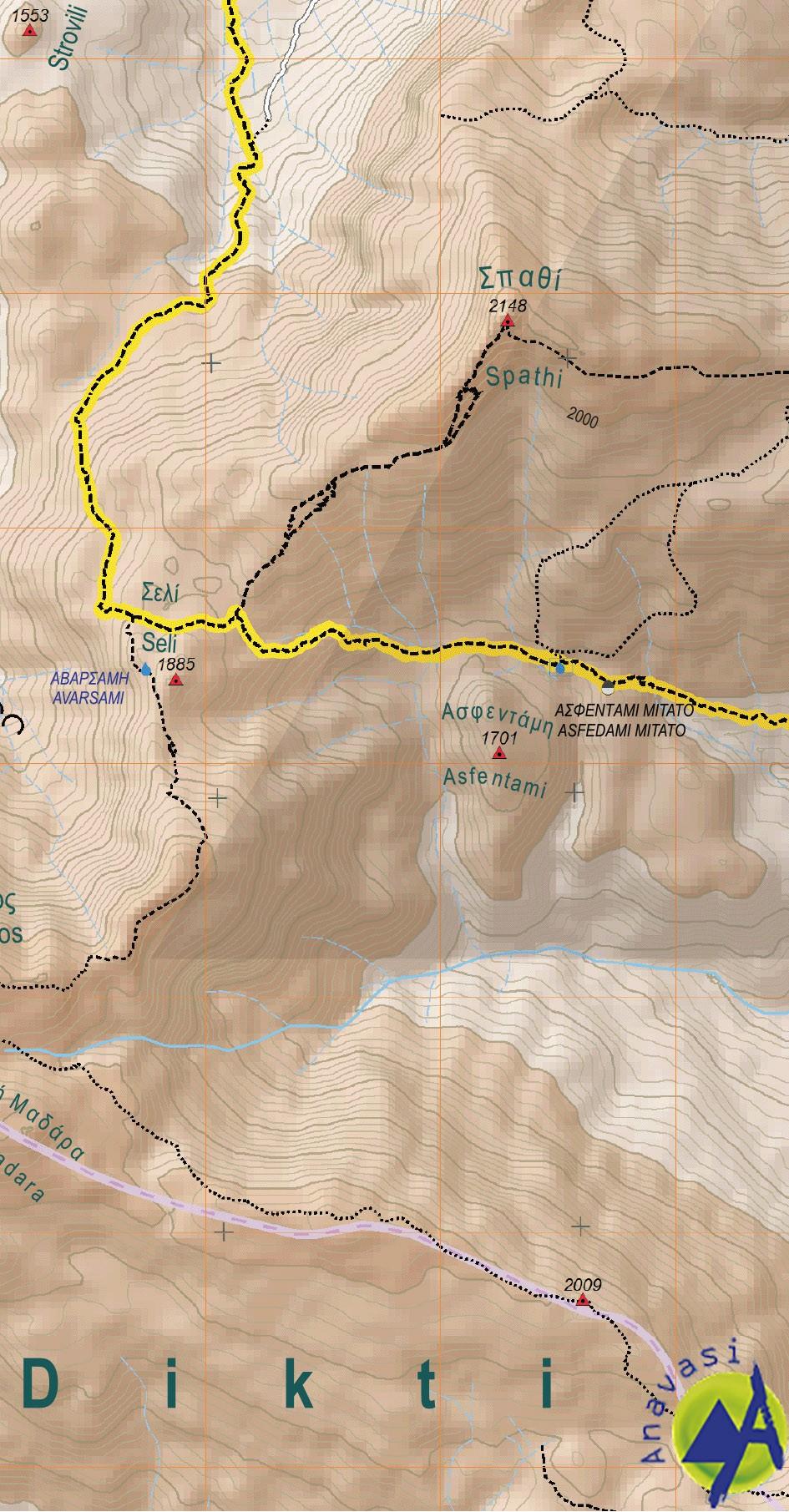 Dikti - Selena • Hiking map 1:35000