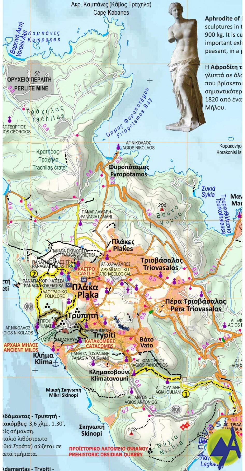 Milos-Kimolos-Polyvos • Hiking map 1:32.000