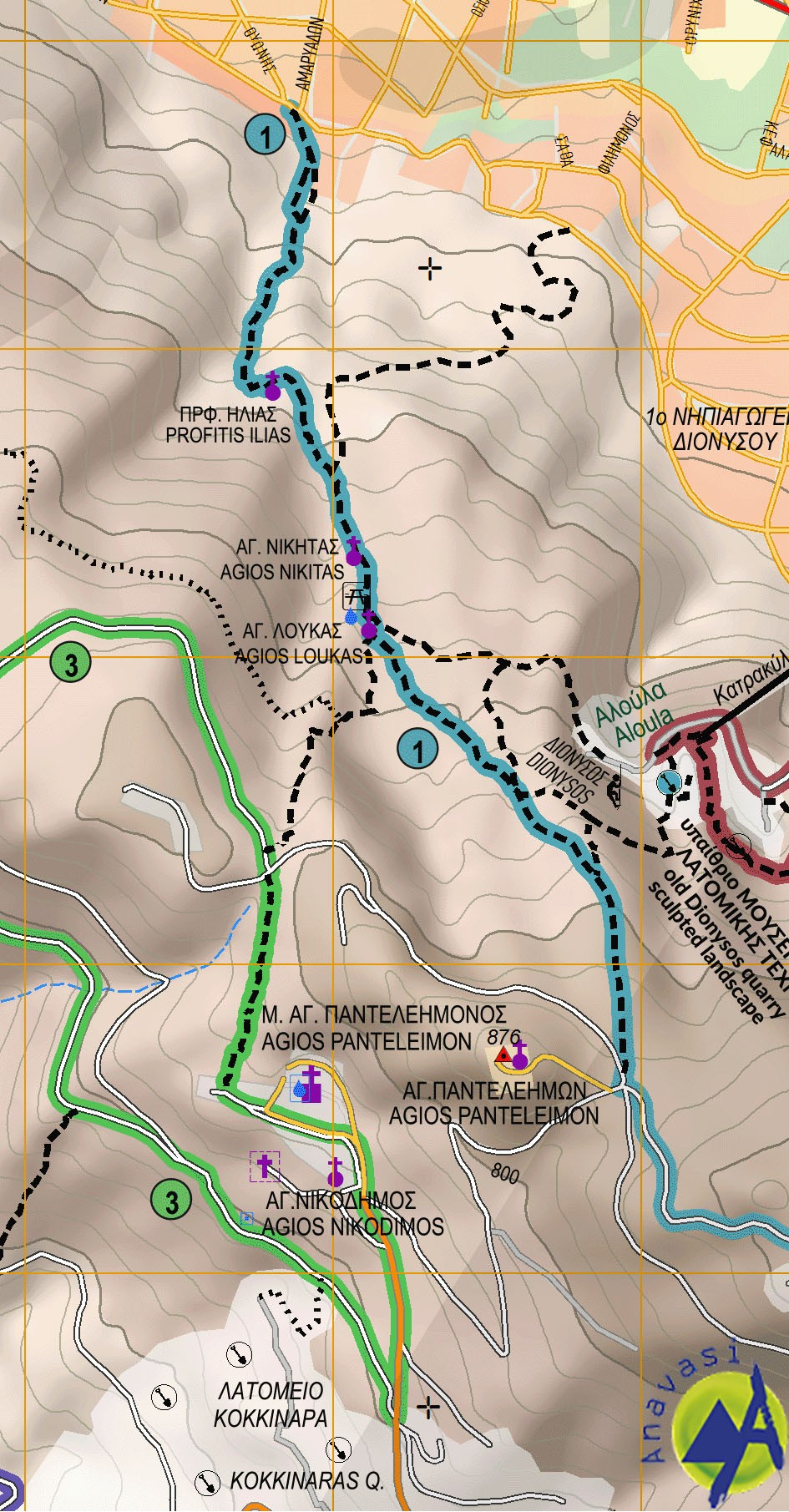 Penteli • Hiking map 1:16.000