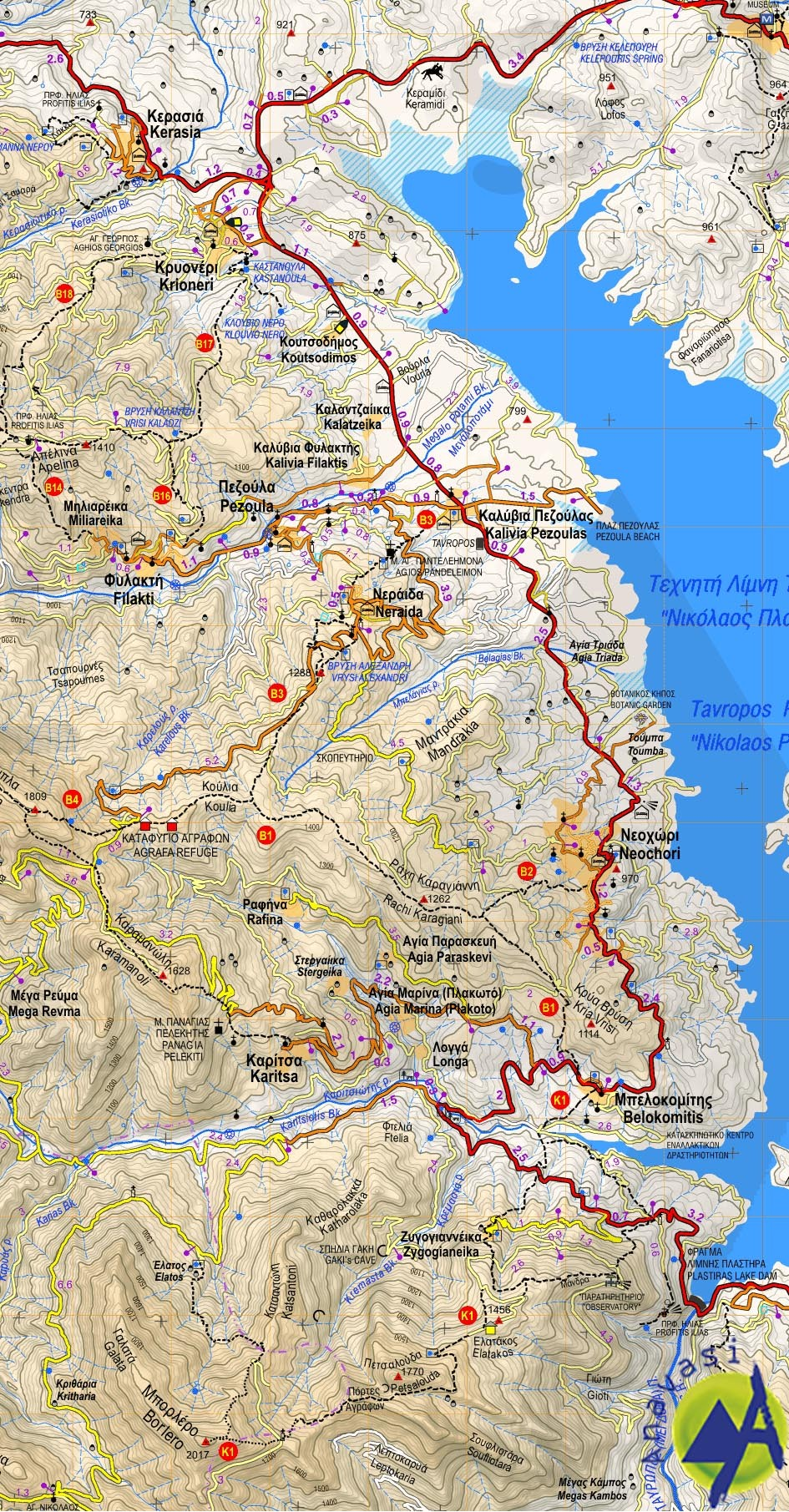 Northern Agrafa - Lake Plastira • hiking map 1:50000