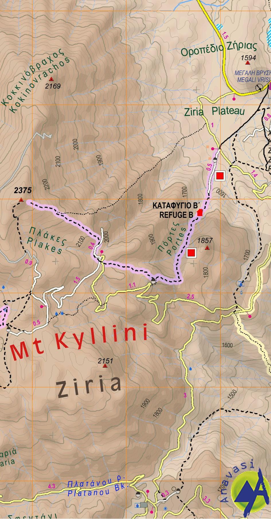Ziria Killini • Hiking map 1:30000